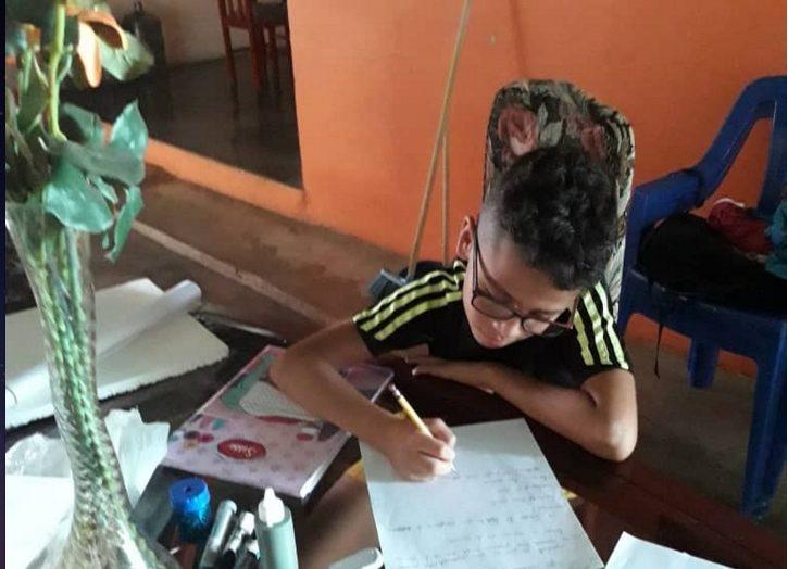 Niños estudian en casa