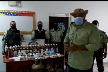 Patrulleros de Caroní decomisaron licores, medicinas y cilindros de gas en Villa La Manga, San Félix.