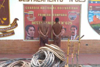 GNB los arrestó por hurto de material estratégico. En otro procedimiento capturaron a Esneider Gómez por porte ilícito de arma.