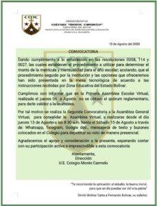 Colegio Monte Carmelo convoca a segunda asamblea virtual para decidir mensualidad