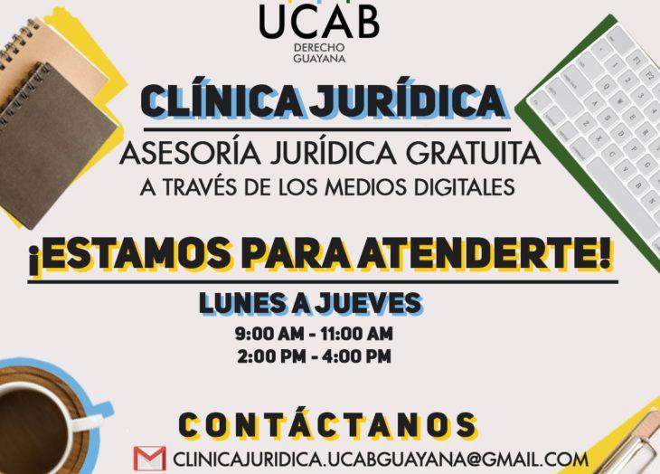 Clínica jurídica de la Ucab Guayana continúa con las asesorías virtuales