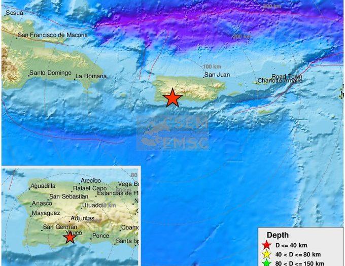 Se registran sismos en Puerto Rico y Rusia