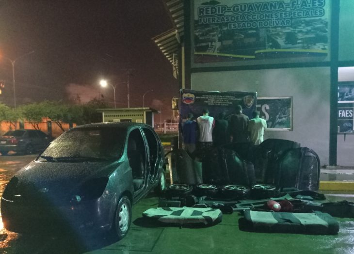 Cinco arrestados por robo y desmantelamiento de vehículo en Ciudad Bolívar