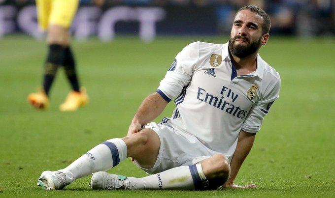 Dani Carvajal KO por una fuerte lesión en la rodilla — Real Madrid