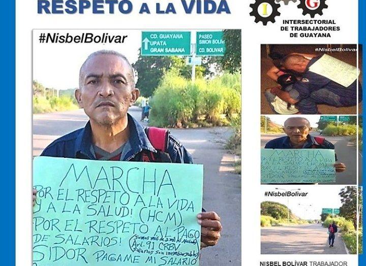 Sidorista caminó desde Ciudad Bolívar hasta Ciudad Guayana reclamando su salario