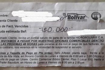 Denuncian irregularidades en el cobro de servicios de Hidrobolívar