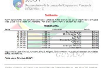 Rcgv invita a la comunidad guyanesa al registro único